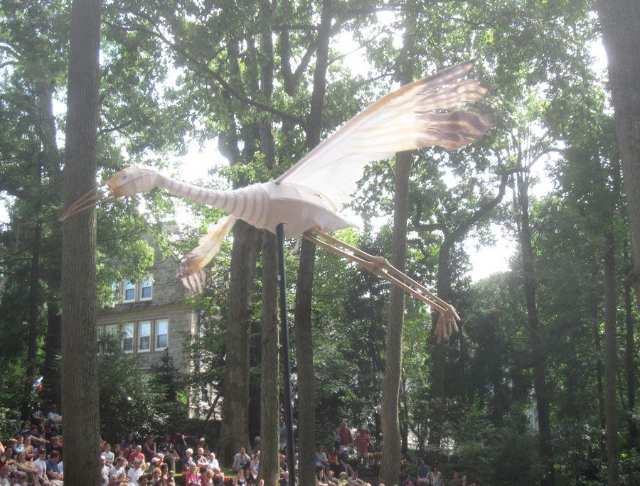 Majestic crane puppet flies over the audience