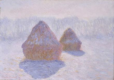 Haystacks (Effect of Snow and Sun), 1891, by Claude Monet