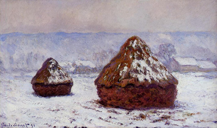Grainstacks, Snow Effect, 1891, by Claude Monet