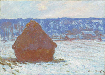 Stack of Wheat (Snow Effect, Overcast Day), 1891, by Claude Monet