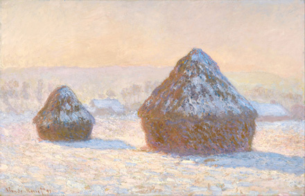 Wheatstacks, Snow Effect, Morning, 1891, by Claude Monet