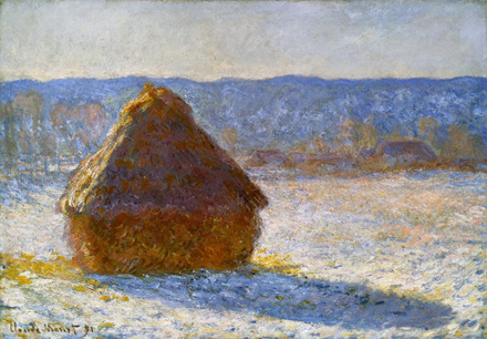 Haystack, Morning Snow Effect, 1891, by Claude Monet